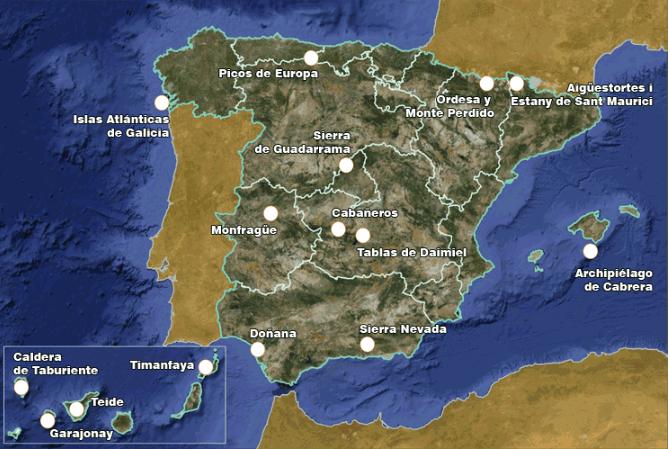 mapa España con los parques naturales
