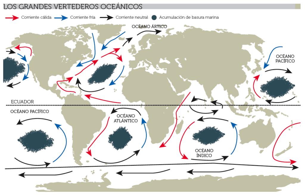 Mapa mundial de las sopas de plástico